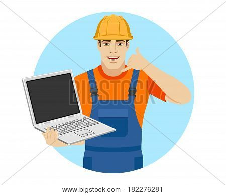 Call me! Builder holding laptop notebook and showing a call me sign. Portrait of builder character in a flat style. Vector illustration.