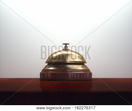 3D illustration. Vintage golden bell on the wooden table of the lobby service.