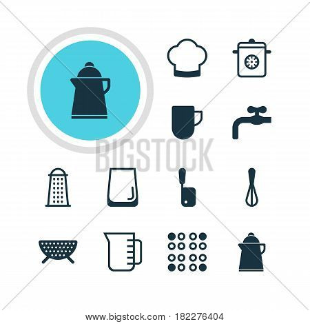 Vector Illustration Of 12 Restaurant Icons. Editable Pack Of Butcher Knife, Glass Cup, Carafe And Other Elements.