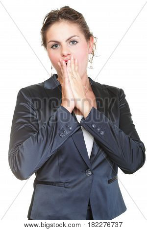Business Woman With Shocked Expression Isolated