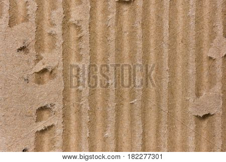 Close up of side view of a corrugated cardboard background