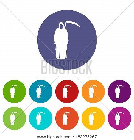Death with scythe icons set in circle isolated flat vector illustration