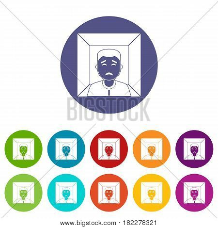 Man icons set in circle isolated flat vector illustration