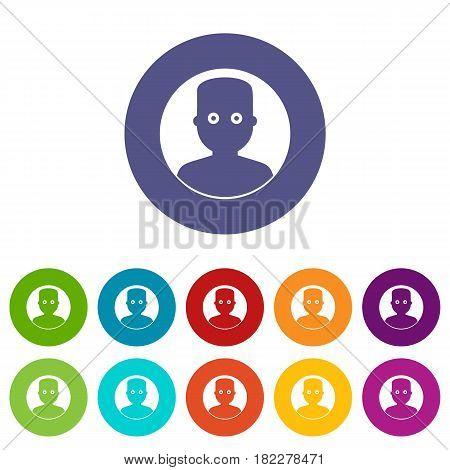 Pet mouse icons set in circle isolated flat vector illustration