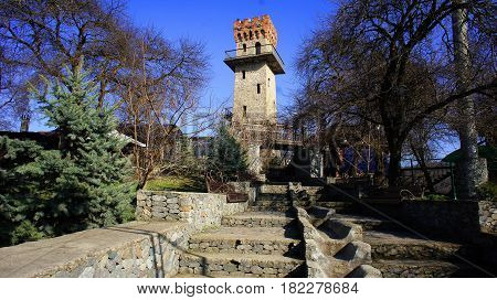 The ancient watchtower, equipped for tourists as an observation tower for a panoramic view of the resort foothills of the Caucasus. The resort area of Nalchik.