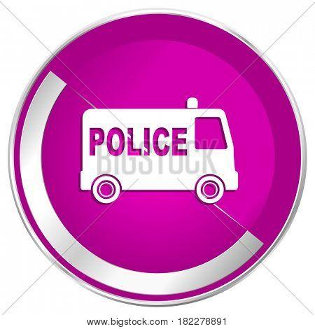 Police web design violet silver metallic border internet icon.