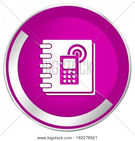 Phonebook web design violet silver metallic border internet icon.