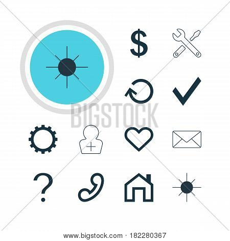 Vector Illustration Of 12 Interface Icons. Editable Pack Of Cogwheel, Register Account, Maintenance And Other Elements.