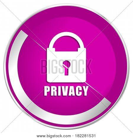 Privacy web design violet silver metallic border internet icon.