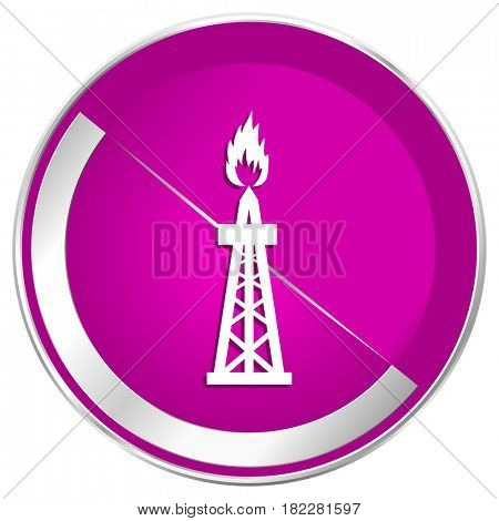 Gas web design violet silver metallic border internet icon.