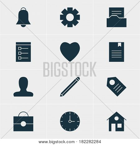 Vector Illustration Of 12 Web Icons. Editable Pack Of Love, Document Directory, Coupon And Other Elements.
