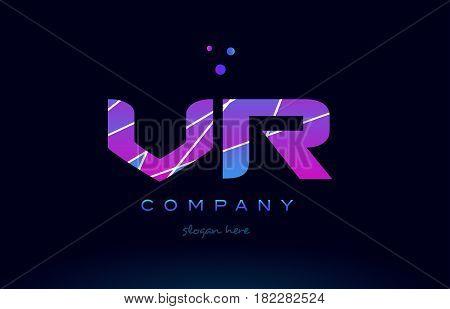 Vr V R  Colored Blue Pink Purple Alphabet Letter Logo Icon Vector