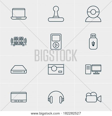 Vector Illustration Of 12 Accessory Icons. Editable Pack Of Loudspeaker, Usb Card, Headset And Other Elements.