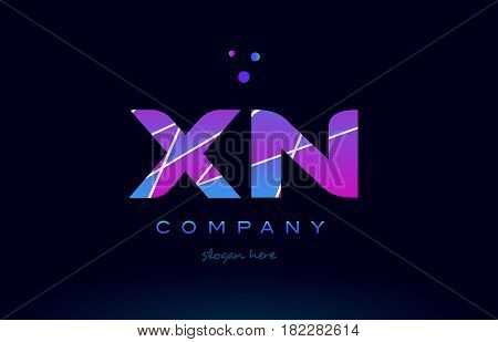 Xm X M  Colored Blue Pink Purple Alphabet Letter Logo Icon Vector