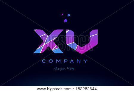 Xv X V  Colored Blue Pink Purple Alphabet Letter Logo Icon Vector