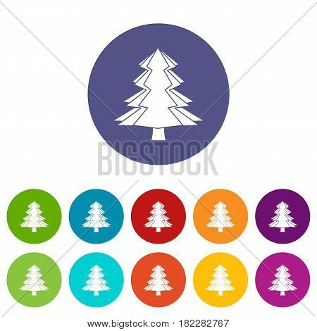 Canadian beaver icons set in circle isolated flat vector illustration