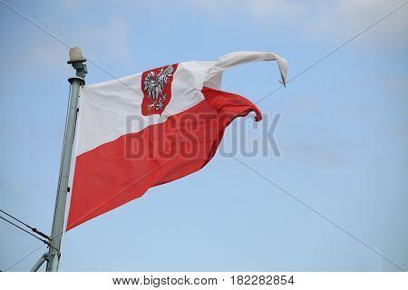 Flag of Poland at the sail ship