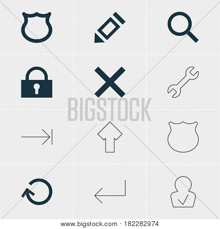 Vector Illustration Of 12 Interface Icons. Editable Pack Of Guard, Wrong, Conservation And Other Elements.