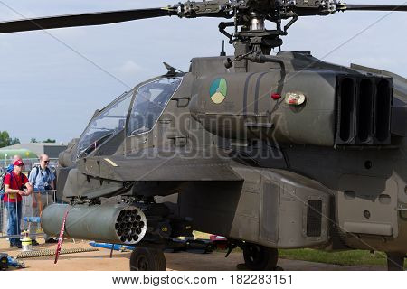LEEUWARDEN NETHERLANDS - JUNE 10 2016: AH-64 apache combat helicopter during the dutch air force open days