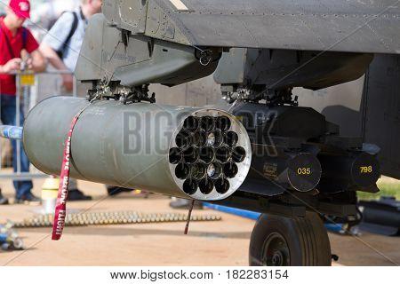LEEUWARDEN NETHERLANDS - JUNE 10 2016: Empty rocket pod of an apache attack helicopter