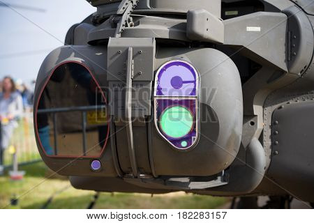 LEEUWARDEN NETHERLANDS - JUNE 10 2016: Night vision instruments on an apache AH-64 combat helicopter