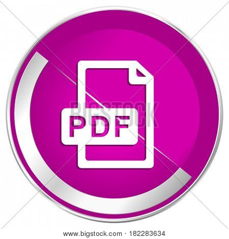 Pdf file web design violet silver metallic border internet icon.