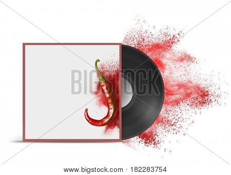 Realistic Vinyl Record with Cover Mockup