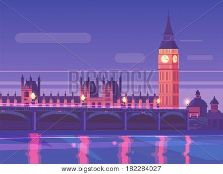 Night city landscape Westminster bridge traffic at night, London England. Vector design illustration for web design development, natural landscape graphics.