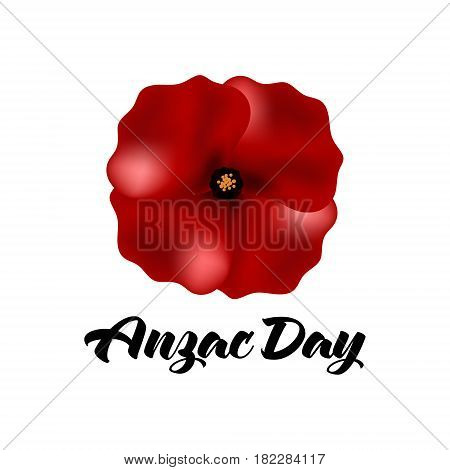 Illustration of a bright poppy flower. Remembrance day symbol. Anzac day Australia. Anzac day New Zealand.