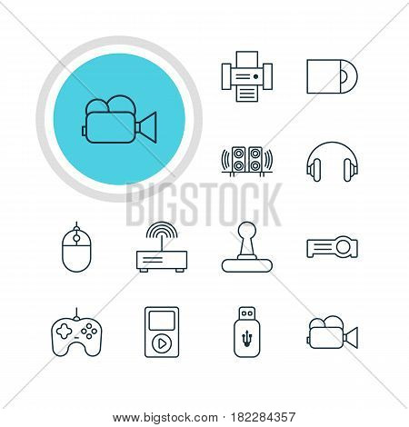 Vector Illustration Of 12 Technology Icons. Editable Pack Of Headset, Modem, Photocopier And Other Elements.