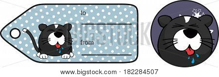 little cat ball cartoon expression giftcard in vector format