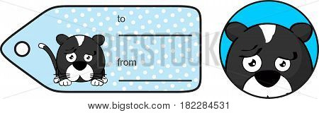 cute little cat ball cartoon expression giftcard in vector format