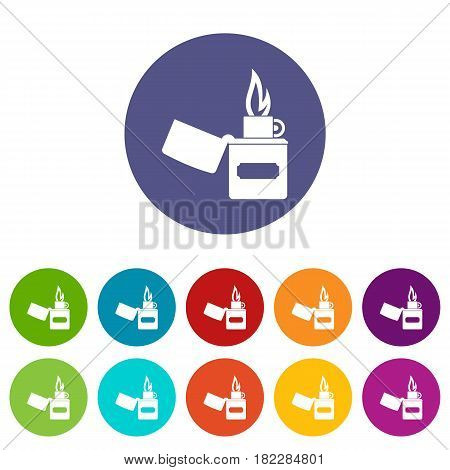 Lighter icons set in circle isolated flat vector illustration