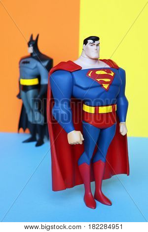 TOULOUSE, FRANCE - April 18, 2017: Vintage 2003 SUPERMAN and BATMAN 10
