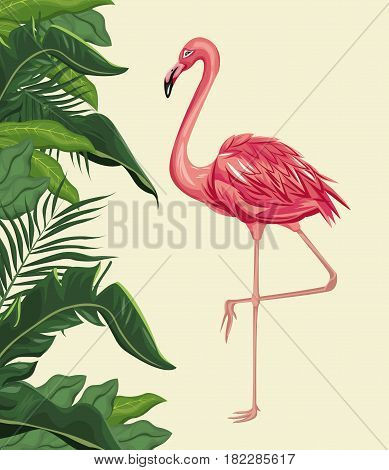 flamingo exotic tropical bird with leaf plam vector illustration eps 10