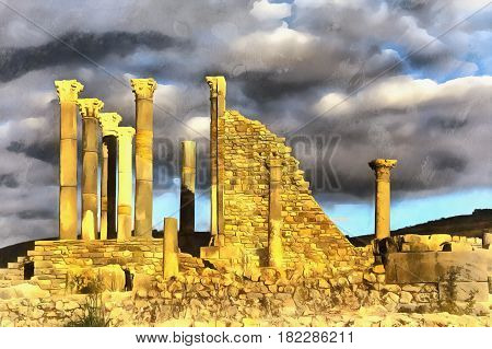 Colorful painting of Capitoline Temple, Roman ruins, Volubilis, Morocco
