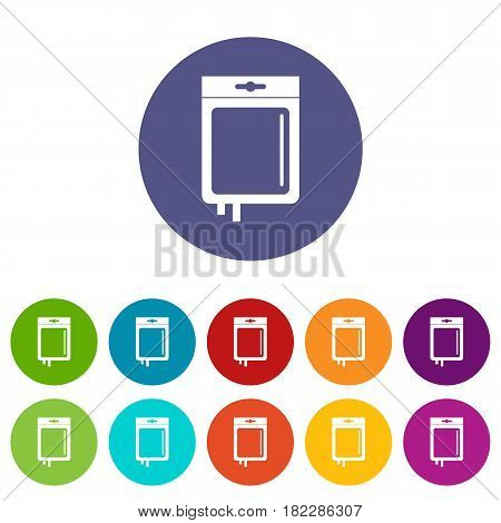 Blood transfusion icons set in circle isolated flat vector illustration