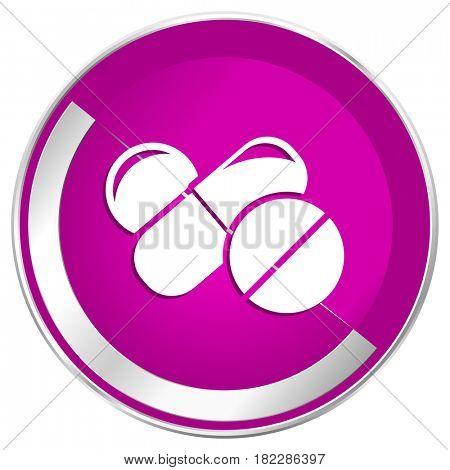 Medicine web design violet silver metallic border internet icon.