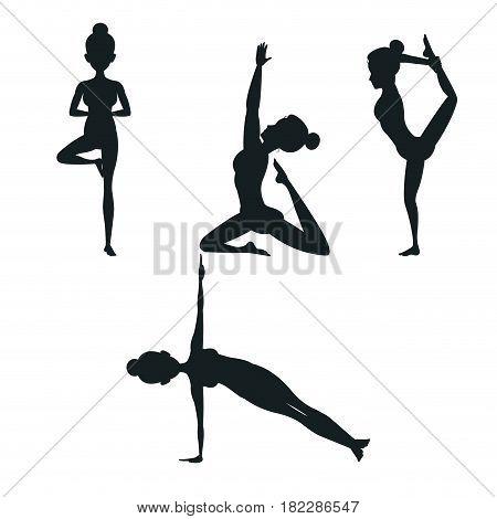 set woman different posture yoga vector illustration eps 10