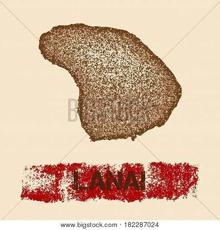 Lanai Distressed Map. Grunge Patriotic Poster With Textured Island Ink Stamp And Roller Paint Mark,