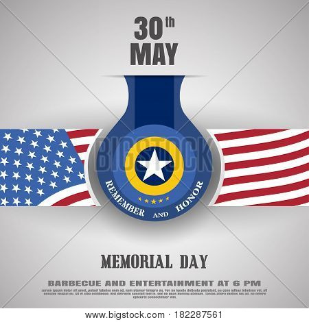 Memorial Day vector poster with medal stripe with usa flag cut from paper shadow and text on the gradient gray background.