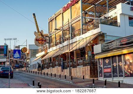 AYIA NAPA CYPRUS - AUGUST 18 2016: Hard Rock Cafe Located on Archiepieskopou Makariou III Avenue.