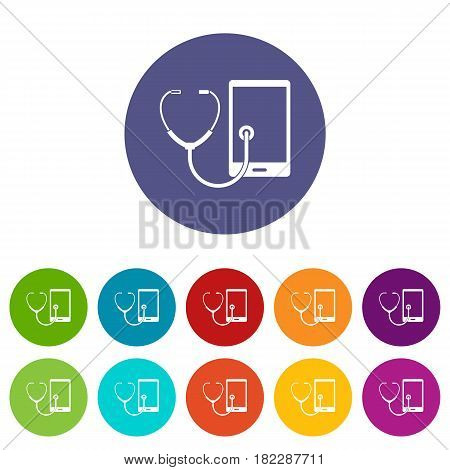 Phone diagnosis icons set in circle isolated flat vector illustration