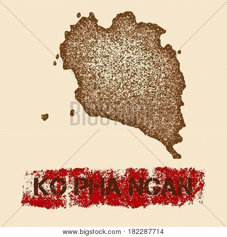 Ko Pha Ngan Distressed Map. Grunge Patriotic Poster With Textured Island Ink Stamp And Roller Paint