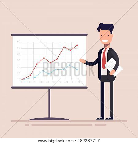 Businessman or manager with documents in his hands demonstrates the income schedule. Presentation of revenue growth for investors