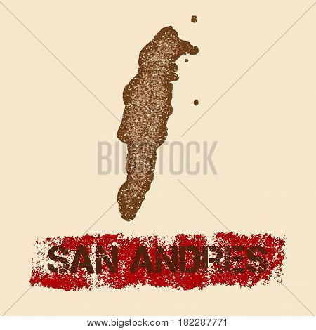 San Andres Distressed Map. Grunge Patriotic Poster With Textured Island Ink Stamp And Roller Paint M
