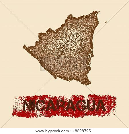 Nicaragua Distressed Map. Grunge Patriotic Poster With Textured Country Ink Stamp And Roller Paint M