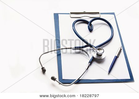 Medical clipboard and stethoscope isolated on white background