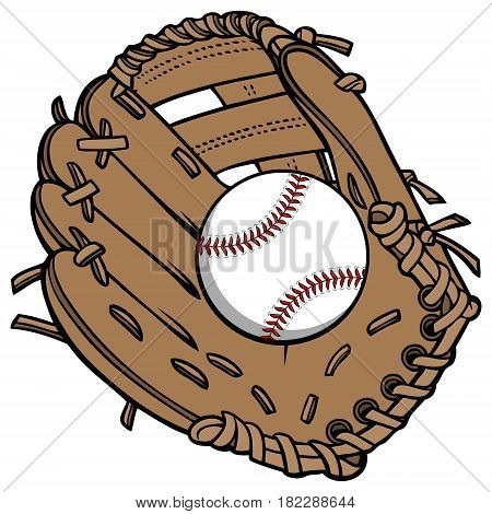 A vector illustration of a Baseball glove and ball.