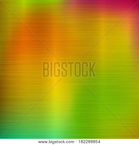 Metal abstract green and orange colorful gradient technology background with polished, brushed texture, chrome, silver, steel, aluminum for design concepts, prints, wallpapers. Vector illustration.